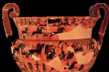 Cratère à figures noires signé Clitias et Ergotimos, 570 av. n. è. 66 cm